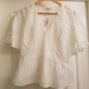 NWT Madewell peplum white V-neck blouse, size 0